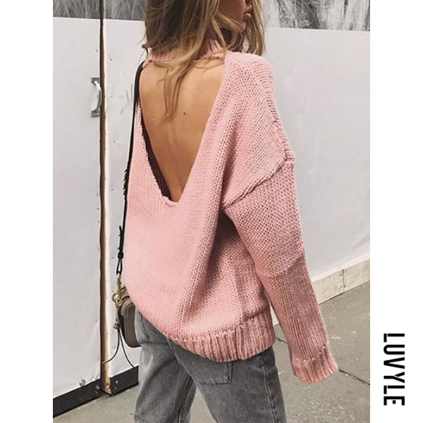 Casual Round Neck Backless Plain Sweater - from $26.00