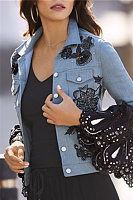 Fashion Lace Splicing Flared Sleeve Printed Jacket