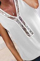 V Neck  Glitter T-Shirts