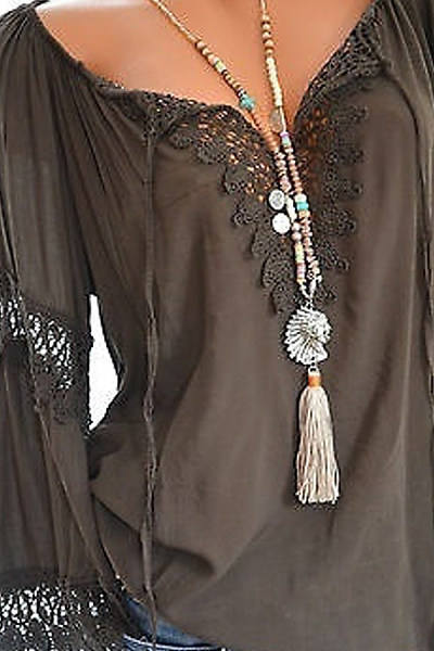 Autumn Spring  Cotton  Women  Tie Collar  Decorative Lace  Hollow Out Plain  Long Sleeve Blouses
