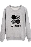 Round Neck  Geometric Letters Sweatshirts