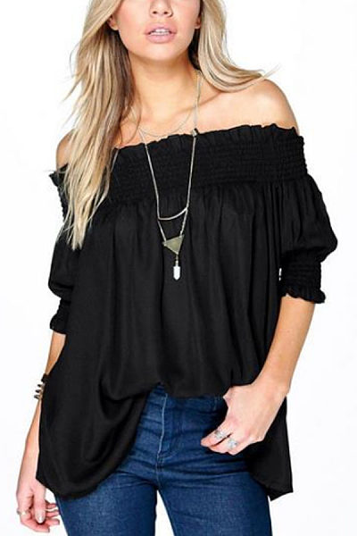 Off Shoulder  Plain  Lantern Sleeve  Blouses