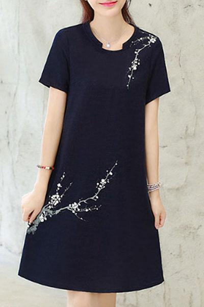 Asymmetric Neck  Floral Printed Shift Dresses