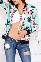 Band Collar  Zipper  Floral Printed Jackets