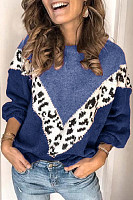 Round Neck Leopard Colouring Casual Sweater