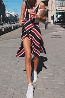 Deep V Neck  Backless  Belt  Striped  Sleeveless Casual Dresses