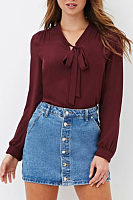 Bow Collar  Plain  Blouses