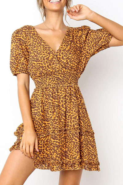 V Neck  Leopard  Short Sleeve Casual Dresses