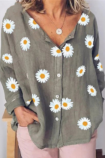 Daisy Printed Loose Casual Blouse