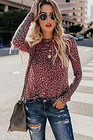 Round Neck  Leopard T-Shirts