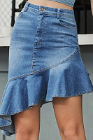 Women Plain Color Denim Skirts