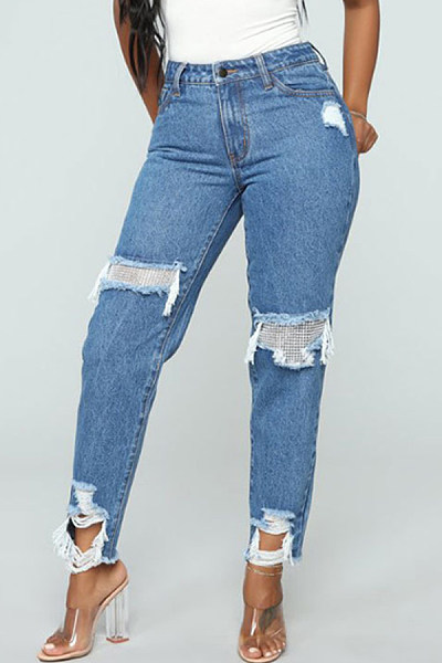 Cutout  Plain  Basic Jeans