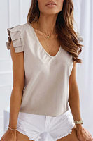 V Neck Ruffle Sleeve Solid T-shirt
