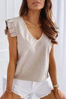 V Neck Ruffle Sleeve Solid T-shirt