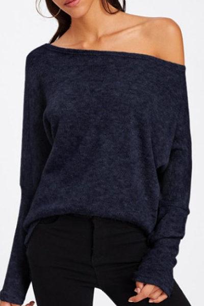 Scoop Neck  Plain  Batwing Sleeve T-Shirts