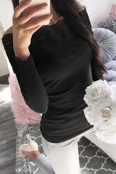Open Shoulder  Hollow Out Plain T-Shirts