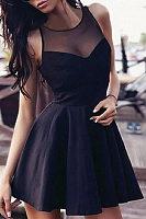 Round Neck  Patchwork  Sleeveless Skater Dresses