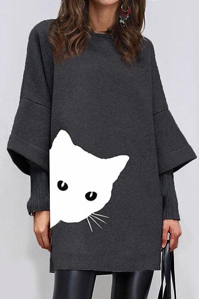 Round Neck  Patchwork  Animal Printed Shift Dress