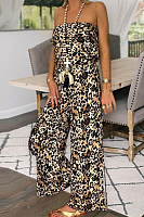 Off The Shoulder   Leopard Print Jumpsuits