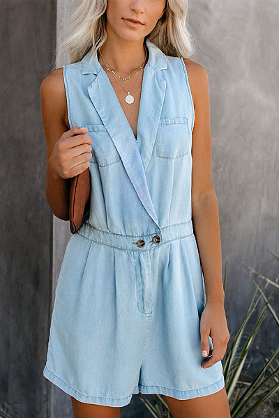 V Neck  Plain  Sleeveless  Playsuits