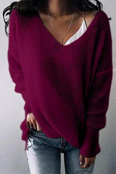 V Neck Solid Color Loose Sweater