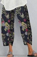 Vintage Printed Loose Elastic Waist Pants