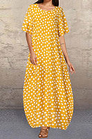 Casual Dot Print Short Sleeve Large Size Lantern Dress