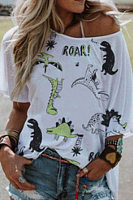 Casual Round Neck Dragon T-Shirt