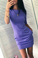 Round Neck  Patch Pocket  Plain  Long Sleeve Bodycon Dresses