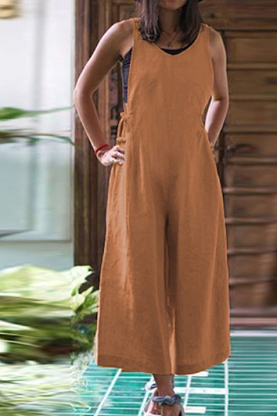 Round Neck Plain Casual Jumpsuits