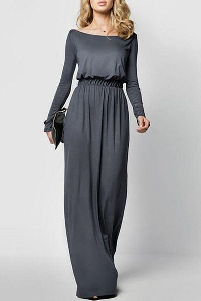 Scoop Neck  Elastic Waist  Plain Maxi Dresses