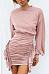Round Neck  Ruffled Hem  Plain  Long Sleeve Bodycon Dresses