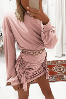 Round Neck  Ruffled Hem  Plain  Long Sleeve Bodycon Dresses