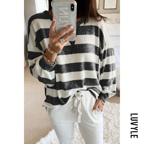 Black Casual Round Neck Long Sleeve Striped T-Shirt Black Casual Round Neck Long Sleeve Striped T-Shirt