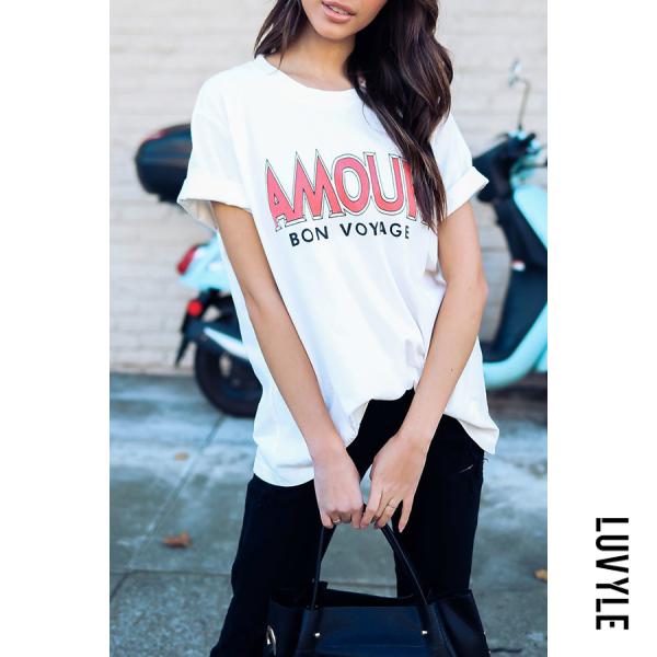 White Amour Bon Voyage Round Neck Patchwork Letters T-Shirts White Amour Bon Voyage Round Neck Patchwork Letters T-Shirts