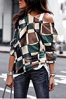 Fashion Daily Casual Loose Plaid Off Shoulder Long Sleeve Top
