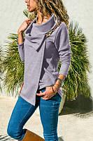 Asymmetric Neck  Plain  Basic Cardigans