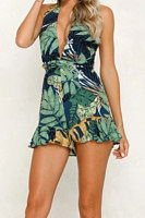 Deep V Neck  Backless  Printed  Sleeveless   Playsuits