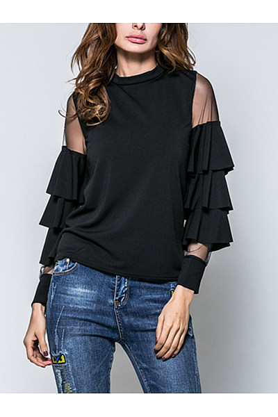 Crew Neck  Tiered  Hollow Out Plain  Bell Sleeve Blouse