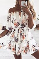 Open Shoulder  Cutout  Bust Darts  Floral Printed  Lantern Sleeve  Half Sleeve Casual Dresses