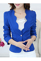 Scallop Neck Single Button  Plain Blazer