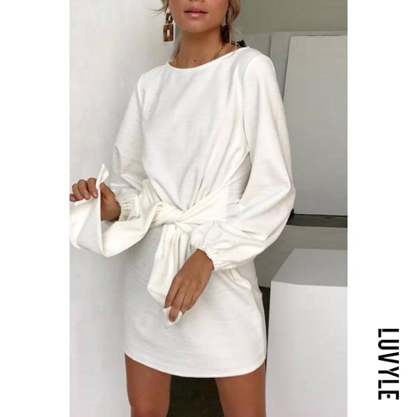 White Round Neck Belt Plain Long Sleeve Casual Dresses White Round Neck Belt Plain Long Sleeve Casual Dresses