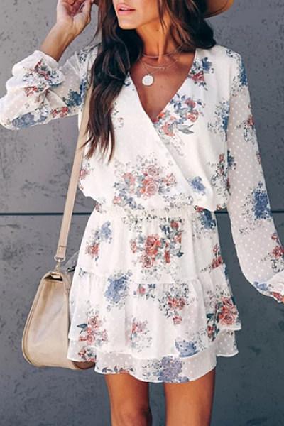 Cute V Neck Long Sleeve Floral Mini Dress