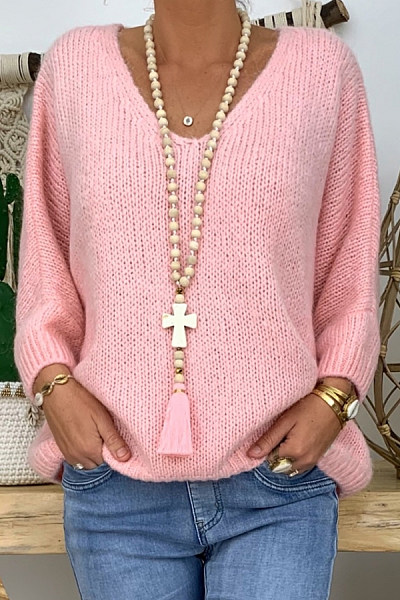 V Neck Loose-Fitting Plain Sweater