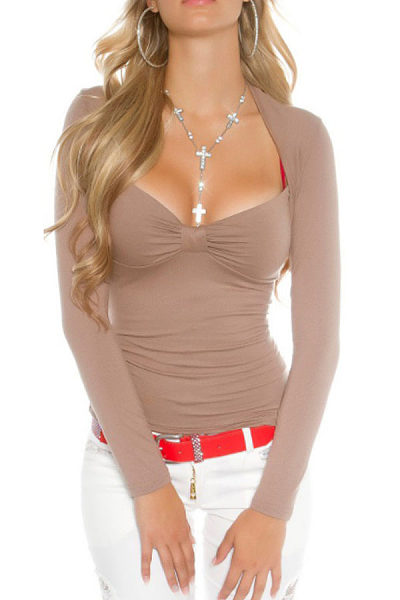 Asymmetric Neck  Lace Plain T-Shirts