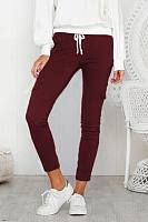 Casual multi-pocket solid color pants