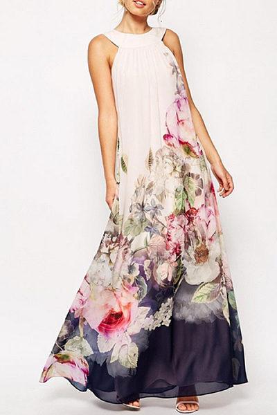 Open Shoulder Printed Sleeveless Maxi Dresses