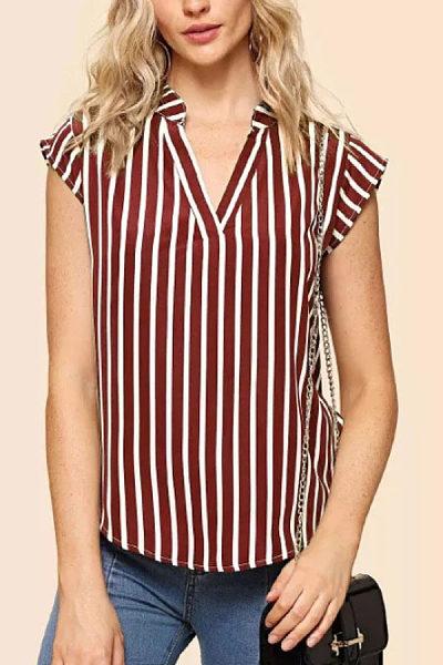 V Neck  Striped  Blouses