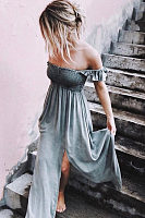 Off Shoulder  Slit  Gradient  Extra Short Sleeve Maxi Dresses