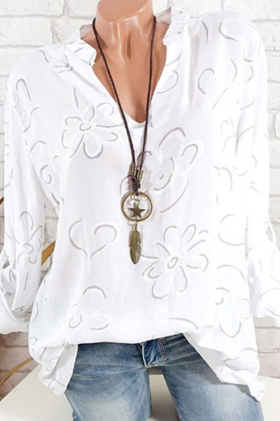 V Neck Fitting  Print Blouse